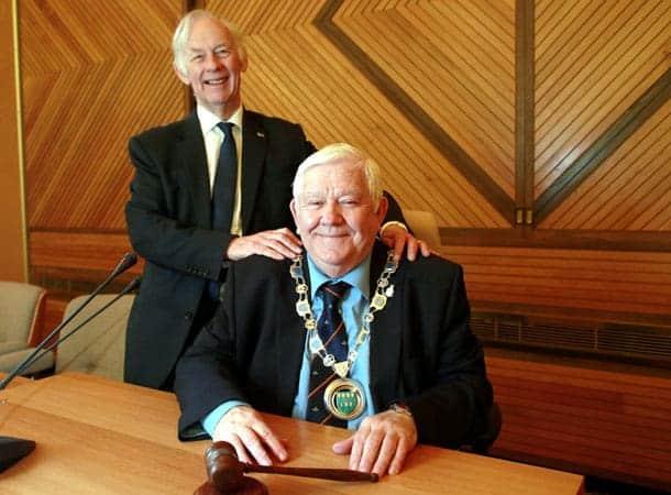New Chairman, Cllr Larry Abraham with former Chairman, Cllr Simon Raikes