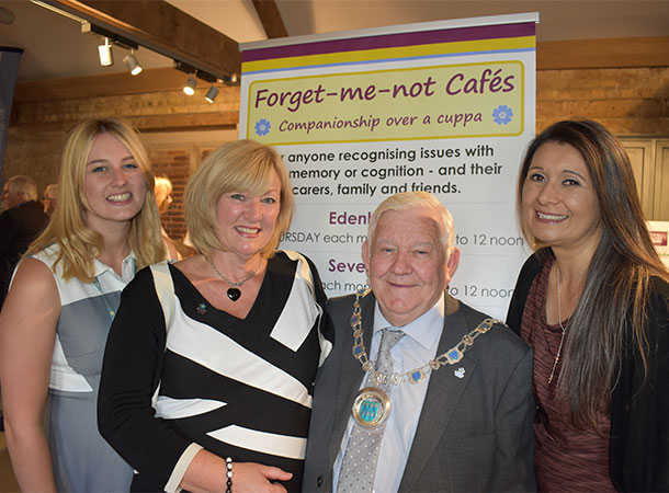 from L-R are: Symone Salwan and Elaine Ferris (Co-Chairs of the Sevenoaks Area Dementia Friendly Community Forum), Cllr Larry Abraham (SDC Chairman), and Jennifer Whiteoak (Community Engagement Officer for Knole House)