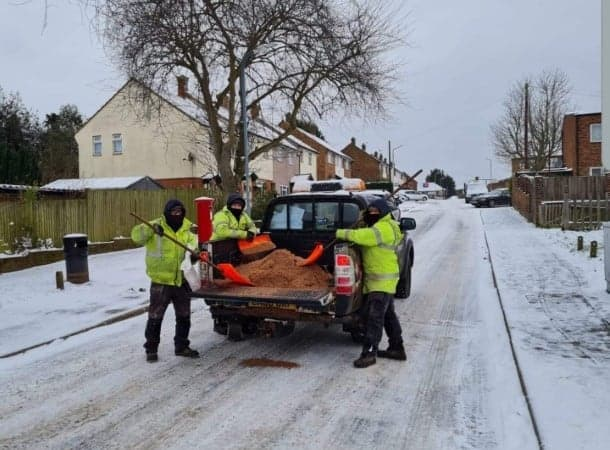 Council staff working hard to clear the snow