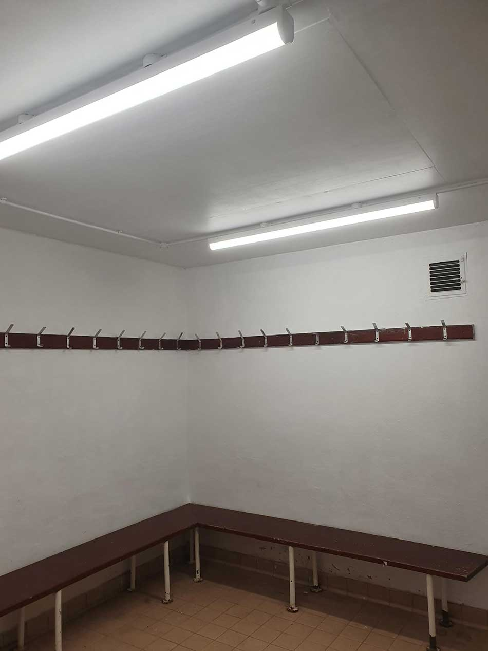 Inside the changing rooms